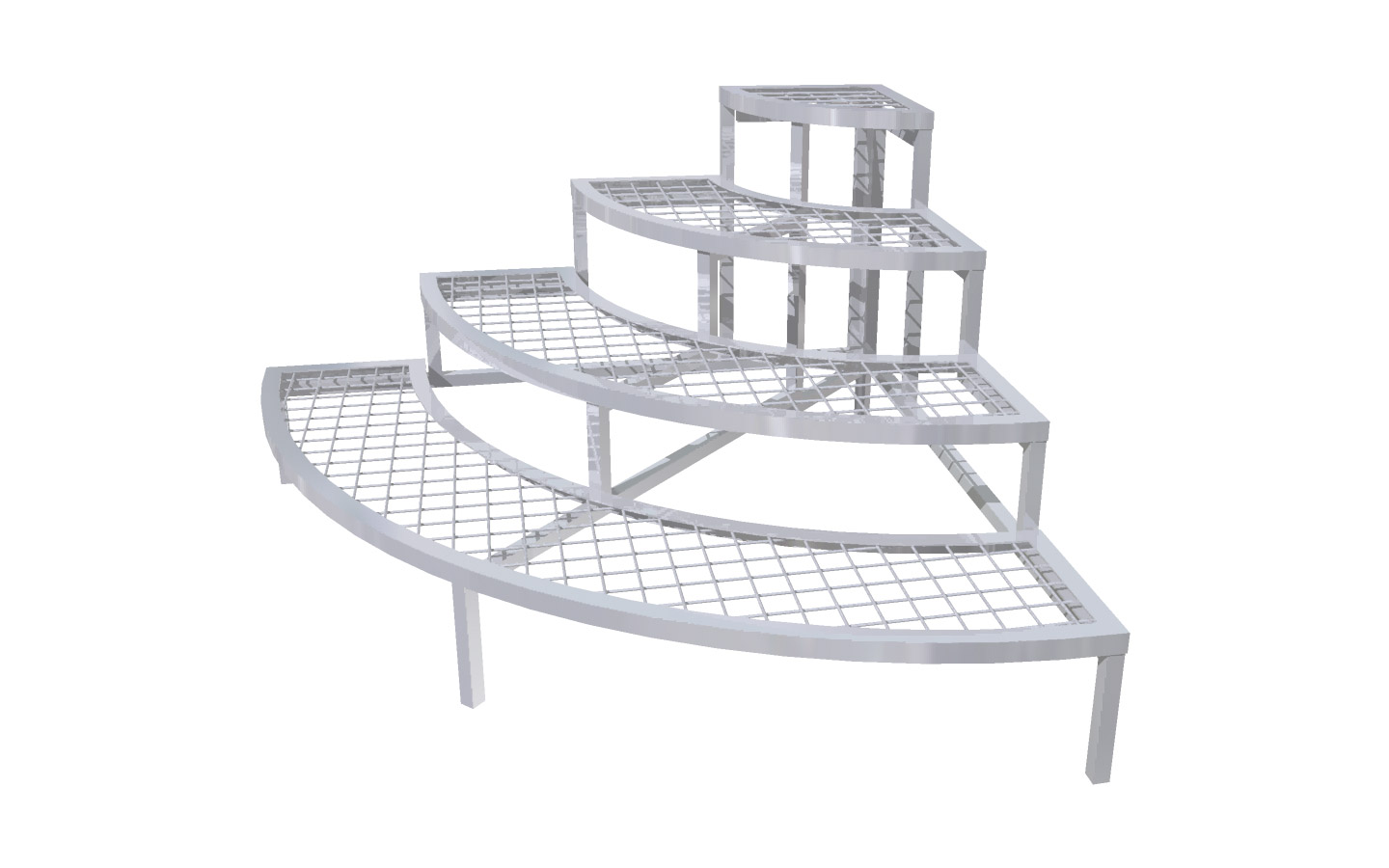 4 Step Stair Display 1 4 Round End Cap Outfront