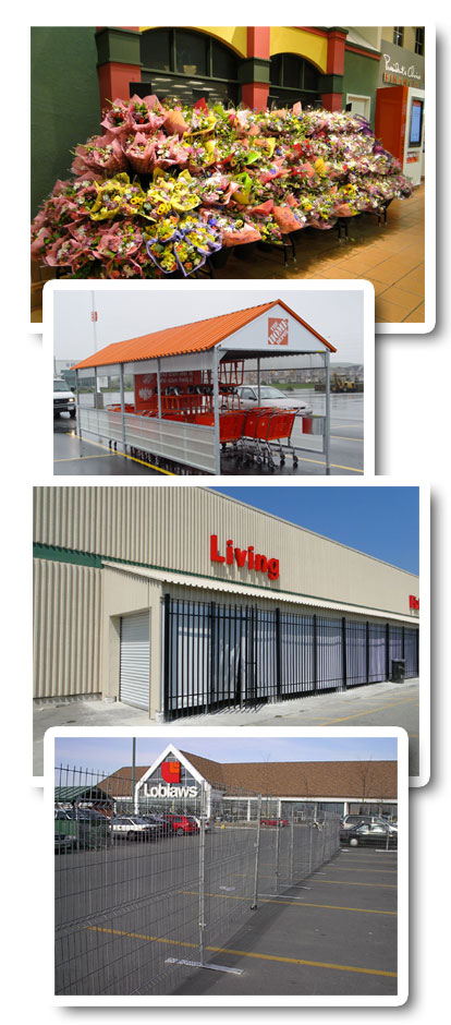 Retail Displays, Temporary Structures, Cart Corrals, Fencing